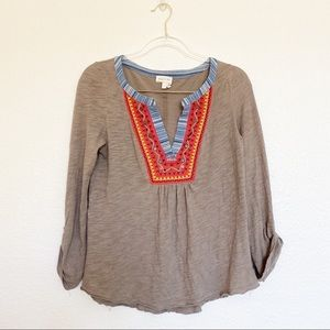 Anthropologie Meadow Rue Embroidered Button Top